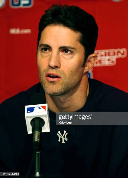 New York Yankees starting pitcher Mike Mussina during postgame press conference after 4-2 victory over the Los Angeles Angels of Anaheim in MLB...
