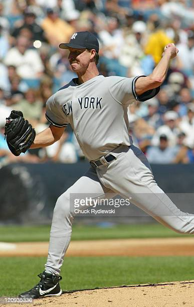 New York Yankees' starting pitcher, Randy Johnson during a game against the Chicago White Sox at U.S. Cellular Field in Chicago, Illinois on August...
