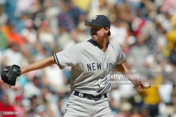 New York Yankees starting pitcher Randy Johnson, during the game against the Chicago White Sox August 21, 2005 at U.S. Cellular Field in Chicago,...