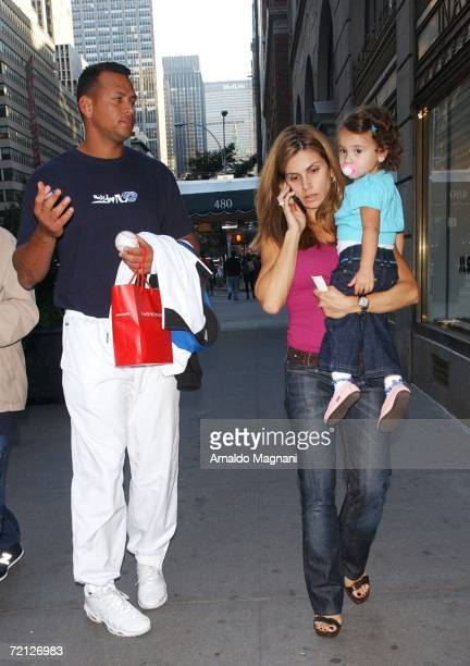 New York Yankees third baseman Alex Rodriguez his wife Cynthia and daughter Natasha Alexander walk in Midtown October 9 2006 in New York City