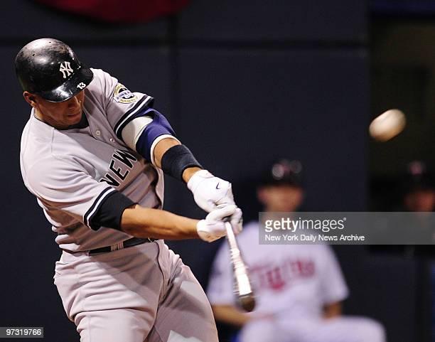 New York Yankees third baseman Alex Rodriguez home run 7th inning New York Yankees vs Minnesota Twins at Hubert H Humphrey Metrodome