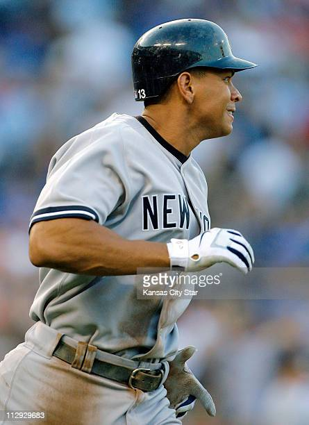 New York Yankees third baseman Alex Rodriguez runs the bases following a tworun home run his 50th home run of the season in the fourth inning against...