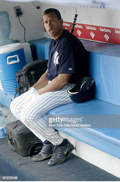New York Yankees' third baseman Alex Rodriguez sits in the dugout before Game 1 of a threegame series against the Boston Red Sox at Yankee Stadium...