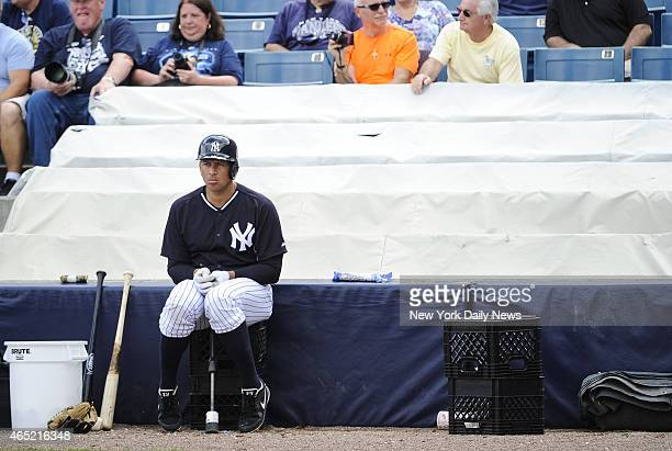 New York Yankees third baseman Alex Rodriguez waits for at bat Intrasquad game played with a pitching machine nicknamed 'Iron Mike' Yankees Spring...