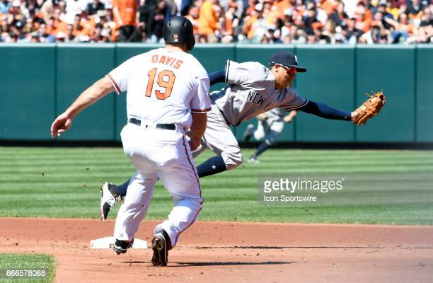 New York Yankees third baseman Ronald Torreyes forces Baltimore Orioles first baseman Chris Davis out a second base on April 9 2017 at Orioles Park...