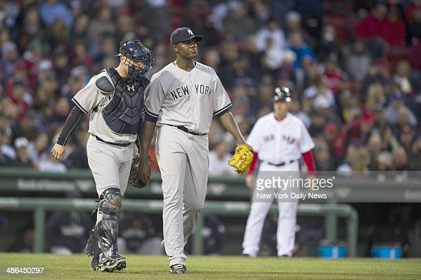 New York Yankees vs Boston Red Sox at Fenway Park Boston MAwith cather Brian McCann Yankee starting pitcher Michael Pineda