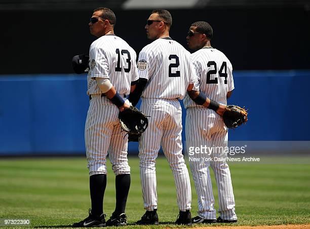 New York Yankees vs Kansas City Royals at Yankee Stadium Beginning of game Alex Rodriguez Derek Jeter and Robinson Cano
