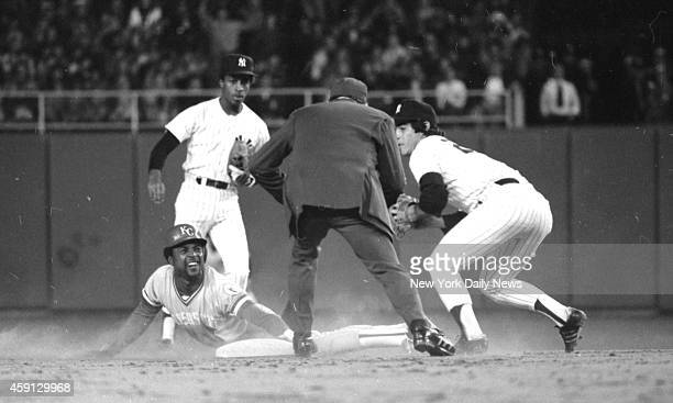 New York Yankees vs Kansas City Royals Frank White of Royals is out trying to steal second in third inning last night as Yanks' Bucky Dent makes tag.