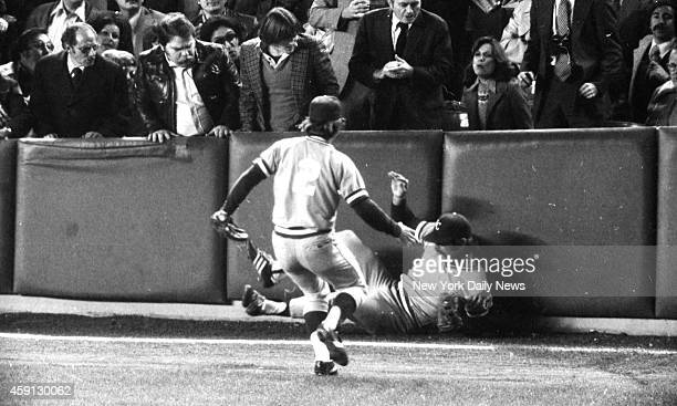 New York Yankees vs Kansas City Royals He rolls out of it as teammate Fred Patek runs in to help Gene Kappock/NY Daily News via Getty Images