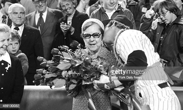 New York Yankees vs Kansas City Royals Mrs Lou Gehrig who threw out first ball gets bouquet and kiss from Thurman Munson
