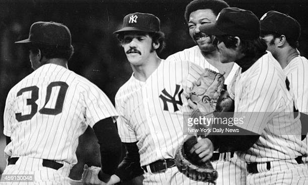 New York Yankees vs Kansas City Royals Ron Guidry is congratulated by Yankees after getting final out to even playoff series with Royals at Stadium...