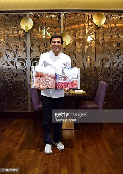 New Yorkbased Indian Michelin starred chef Vikas Khanna with his book Utsav A culinary epic of Indian festivals that he photographed across India for...