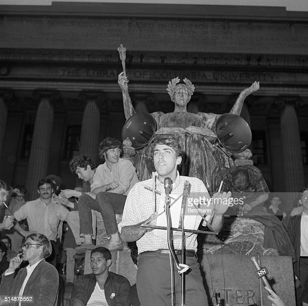 Columbia University strike leader Mark Rudd addresses a rally in front of oncampus Low Library May 17thstating that further student demonstrations...
