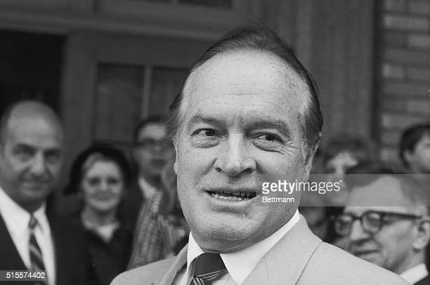 Comedian Bob Hope leaves the Institute of Opthamology at Columbia Presbyterian Hospital May 6 smiling and joking after treatment for a hemorrhage of...