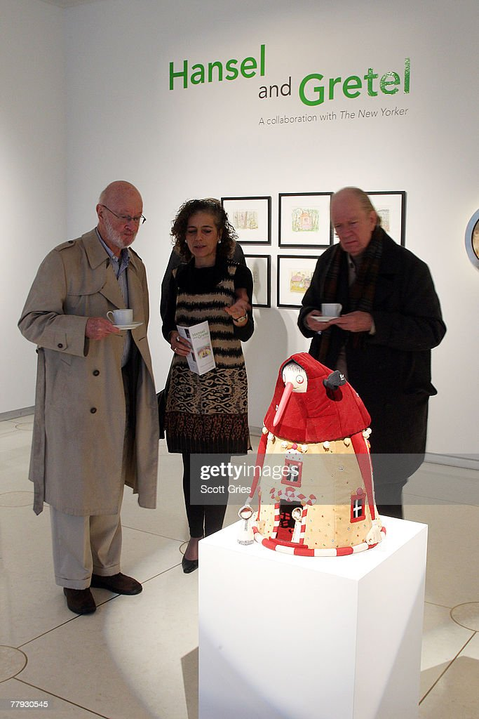 New Yorker Art Editor Francoise Mouly (C) discusses a piece on display during a press preview of the Metropolitan Opera's and The New Yorker's exhibition of 'Hansel and Gretel' at the Arnold & Marie Schwartz Gallery Met on November 15, 2007 in New York City.