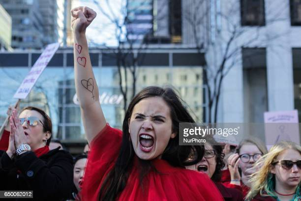 New Yorker Womens march on International Women's Day at Manhattan New York USA 07 March 2017