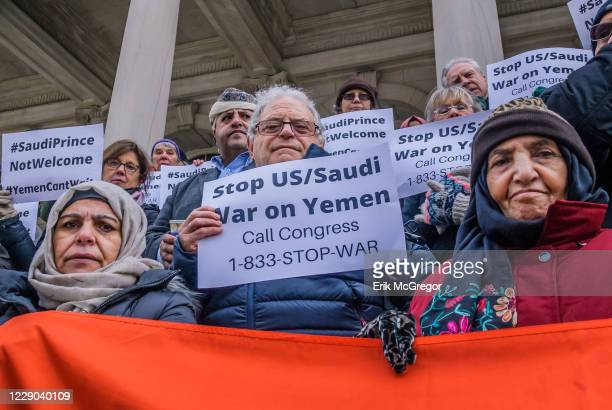 New Yorkers assembled on the steps of City Hall on March 20, 2018; to ask Mayor de Blasio to speak out against the upcoming Saudi princes visit to...