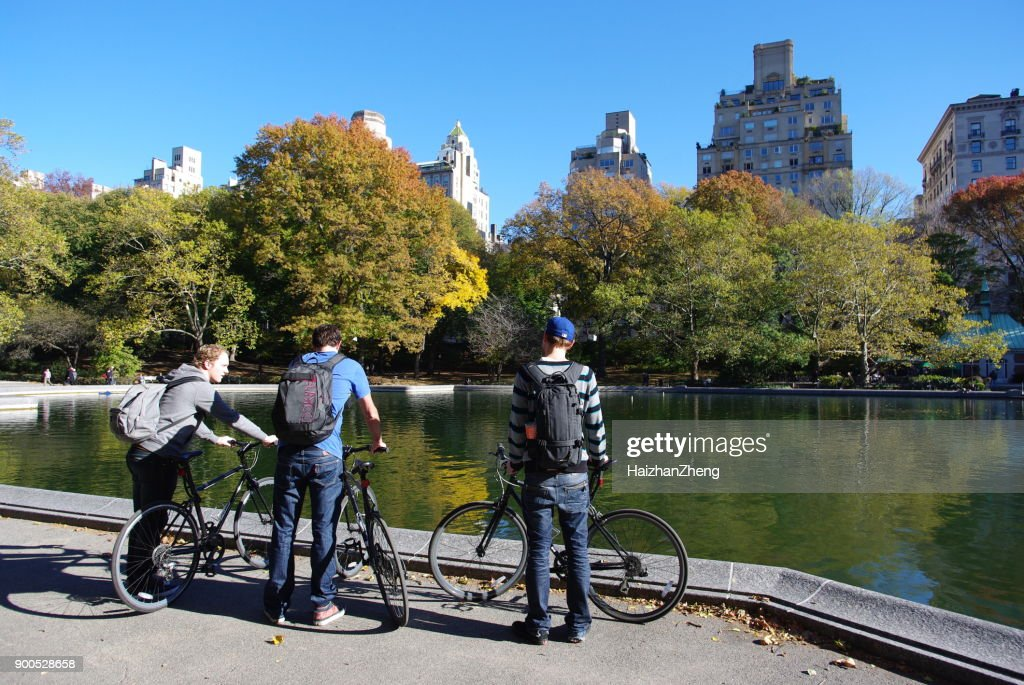 New Yorkers in central Park : Stock Photo