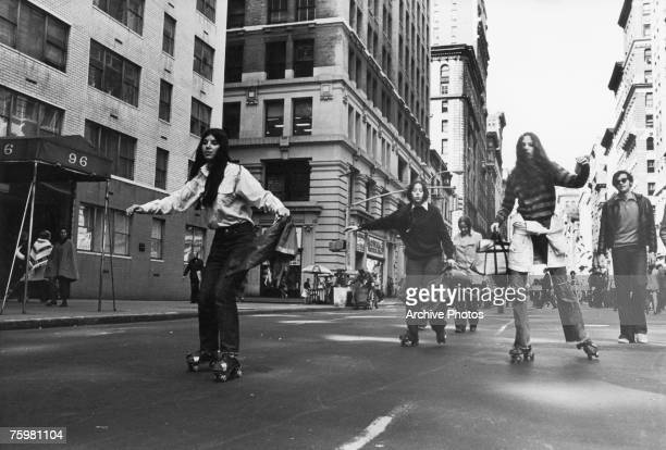 New Yorkers rollerskate to work to do their bit for environmentalism during the first Earth Day 22nd April 1970