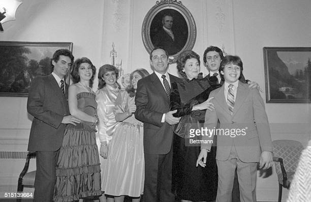 New York's 52nd Governor Mario Cuomo and family pose following a private swearingin ceremony at the Executive Mansion Left to right Soninlaw Robert...