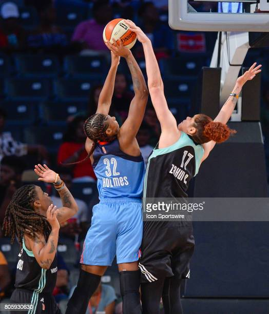 New York's Amanda Zahui B blocks a shot by Atlanta's Bria Holmes during a WNBA game between the Atlanta Dream and the New York Liberty on July 2 2017...