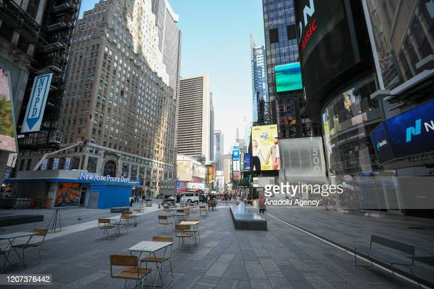 New Yorkâs famous Times Square is seen nearly empty due to coronavirus pandemic on March 16 2020 in New York United States