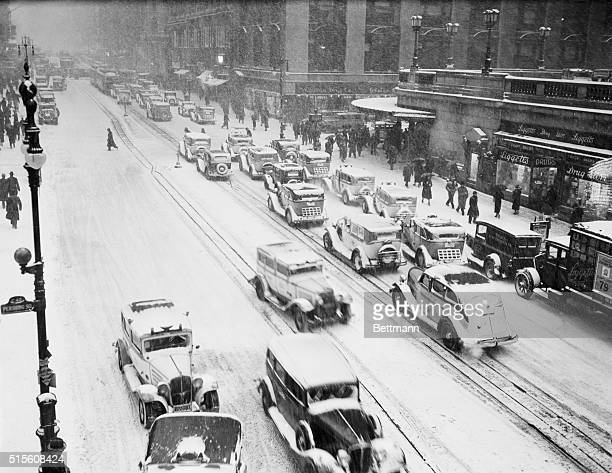 New York's first big snowstorm of the year which took on the proportions of a blizzard as the day wore on swept over the city January 23rd hampering...