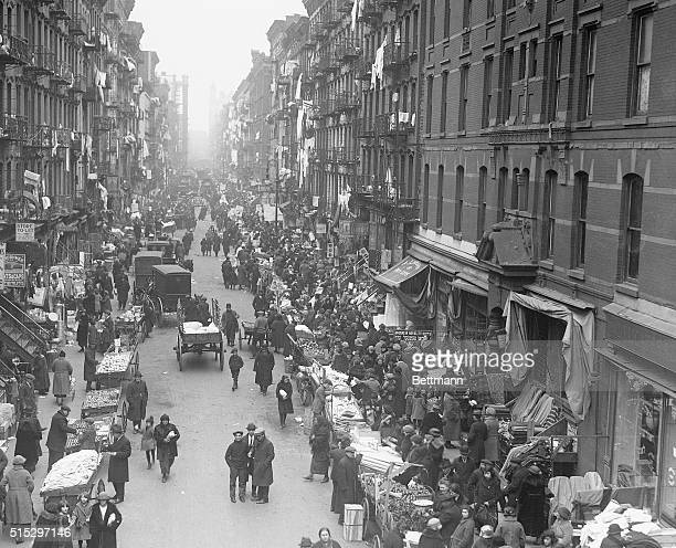 New York's Orchard Street with rows of push carts Photograph dated 1923