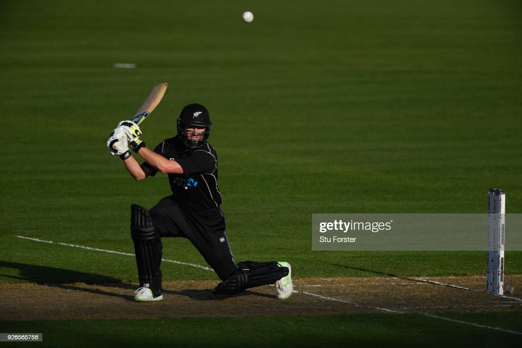 New Zeaand batsman Colin Munro hits out during the 3rd ODI between New Zealand and England at Westpac stadium on March 3, 2018 in Wellington, New Zealand.
