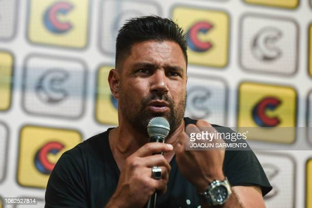 New Zealand actor Manu Bennet from the TV series Arrow and Spartacus speaks during a conference in the framework of the Comic Con Colombia 2018 in...
