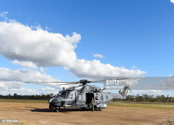 New Zealand Air Force NH90 helicopter is seen on a helipad just after it landed at the Williamson airfied in the Shoalwater Bay Training Area as part...