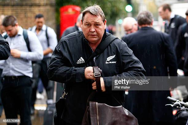 New Zealand All Black coach Steve Hansen arrives at the Royal Garden Hotel in London on November 3, 2014 in London, England.