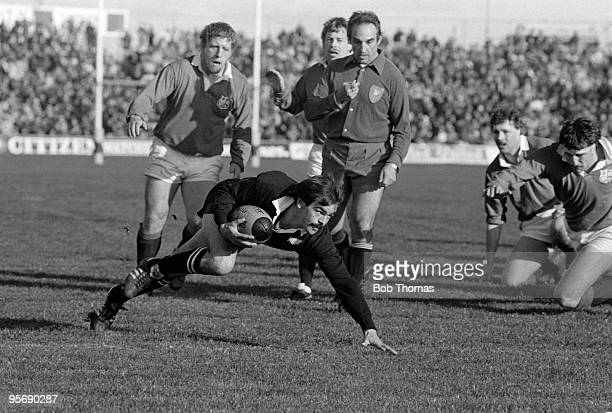 New Zealand All Black Dave Loveridge dives over for the only try of the match during the 2nd Test Match against the All Blacks held at Athletic Park...