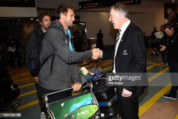 New Zealand All Black Sevens cocaptain Scott Curry meets NZR President Maurice Trapp after arriving back from the Sevens WOrld Cup in San Francisco...