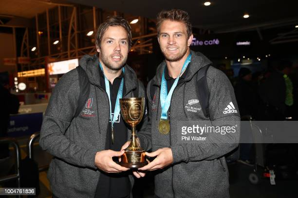 New Zealand All Black Sevens cocaptains Scott Curry and Tim Mikkelson pose with the Melrose Cup after arriving back from the Sevens WOrld Cup in San...