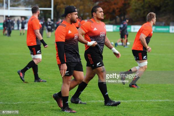 New Zealand All Blacks Asafo Aumua during a training session on the eve of their test match against France on November 10 2017 in Suresnes France