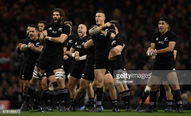 New Zealand All Blacks captain Samuel Whitelock and team mates perform the Haka before the International match between Wales and New Zealand at...