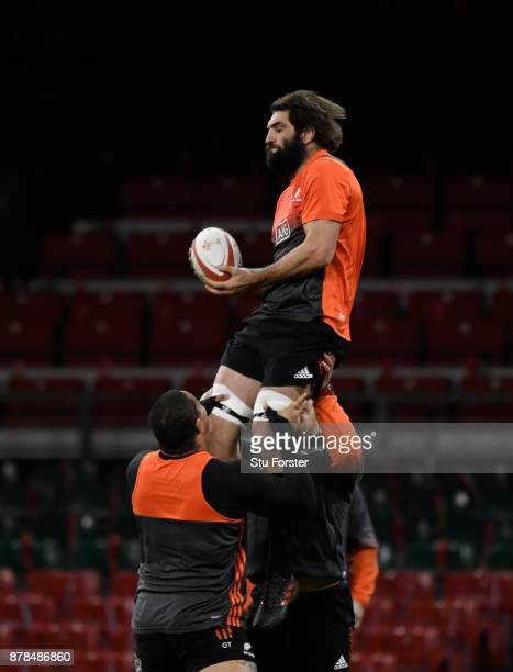 New Zealand All Blacks captain Samuel Whitelock in action during training ahead of their International against Wales at Principality Stadium on...