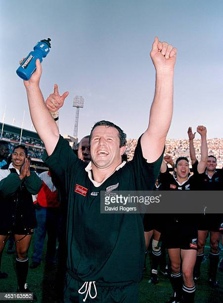 New Zealand all blacks captain Sean Fitzpatrick celebrates after the 2nd Test match between South Africa springboks and New Zealand which sealed the...