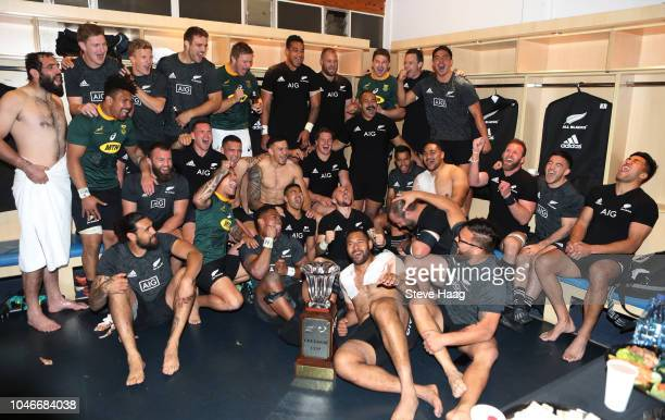 New Zealand All Blacks celebrate in the changing room after the win during the Rugby Championship match between South Africa Springboks and New...