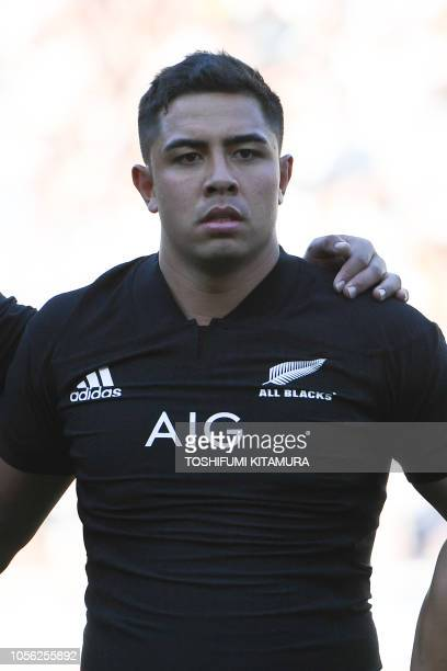 New Zealand All Blacks centre Anton LienertBrown listens to the anthems prior the Bledisloe Cup rugby union Test match between the New Zealand All...