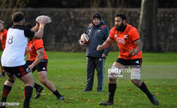 New Zealand All Blacks coach Steve Hansen oversees training prior to Saturday's International against Wales at Sophia Gardens on November 23, 2017 in...