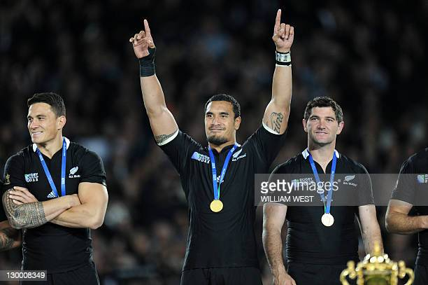 New Zealand All Blacks flanker Jerome Kaino , Sonny Bill Williams and Stephen Donald celebrate after winning the 2011 Rugby World Cup final match New...