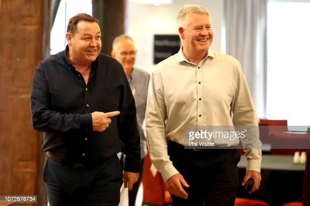 New Zealand All Blacks Head Coach Steve Hansen arrives to speak to media with NZR CEO Steve Tew at the Heritage Hotel on December 14 2018 in Auckland...