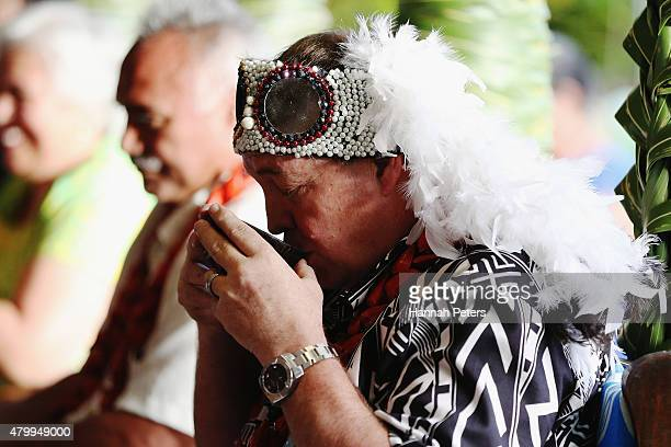 New Zealand All Blacks Head Coach Steve Hansen drinks kava during a ceremony making him a Honorary High Chief Of Vaiala on July 9 2015 in Apia Samoa...