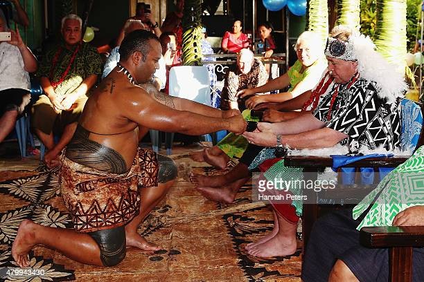 New Zealand All Blacks Head Coach Steve Hansen is presented kava during a ceremony making him a Honorary High Chief Of Vaiala on July 9 2015 in Apia...