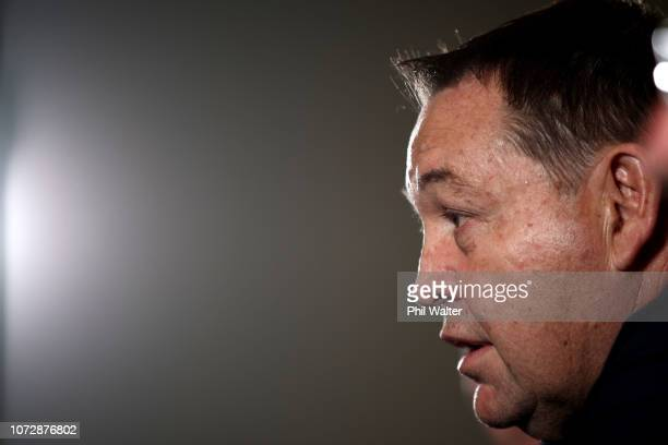 New Zealand All Blacks Head Coach Steve Hansen speaks to media at the Heritage Hotel on December 14 2018 in Auckland New Zealand Hansen announced...