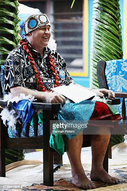 New Zealand All Blacks Head Coach Steve Hansen takes part in a ceremony making him a Honorary High Chief Of Vaiala on July 9 2015 in Apia Samoa...