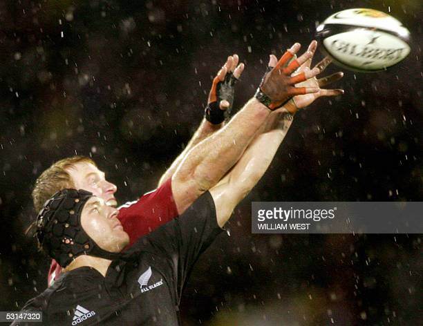 New Zealand All Blacks lock Ali Williams steals the lineout ball from British and Irish Lions lock Paul O'Connell during the first Test match in...