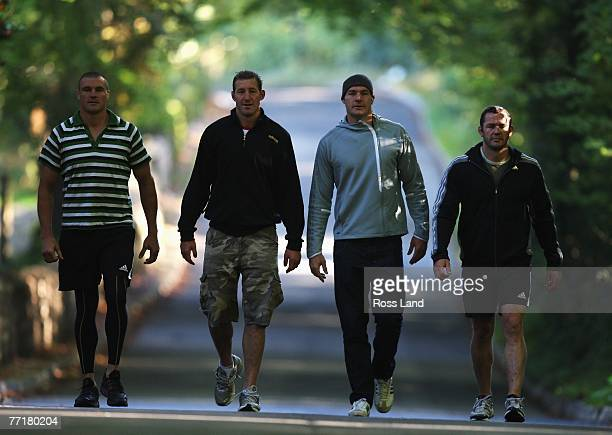 New Zealand All Blacks locks Keith Robinson, Chris Jack, Ali Williams and Reuben Thorne poses at the team hotel prior to training on October 4, 2007...